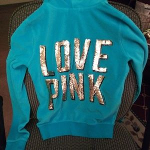 VS Pink size XS bling hoody teal color
